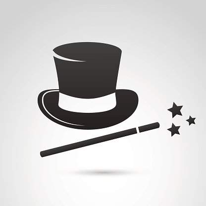 77410395 magic hat and wand icon