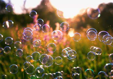 soap bubbles flying over blooming green grass and