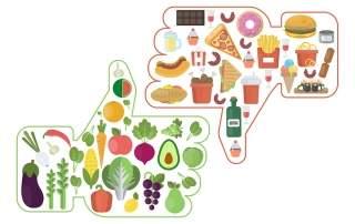 bigstock Healthy Vs Junk Food Like And 230770414