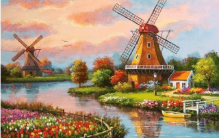 windmills painting