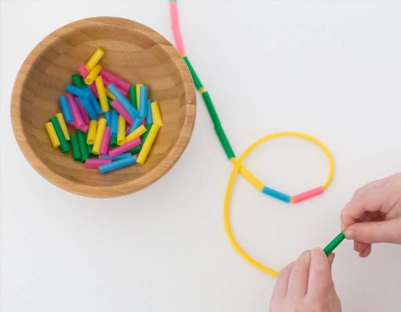 Fine Motor Threading straws